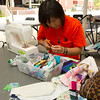 """Students taking part in """"Stitching Community Together"""" quilt project during the Anne Frank Project at Buffalo State."""