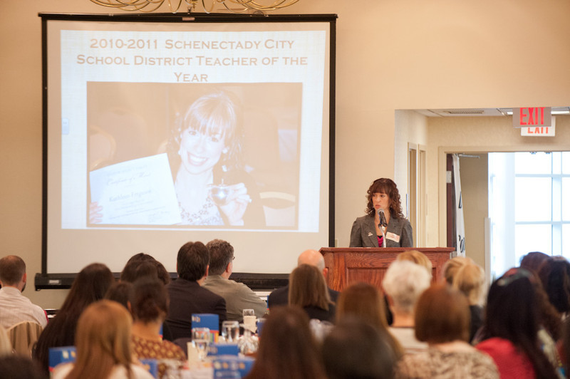 NY State Teacher of the Year, Katie Ferguson speaking at the .Professional Development Schools Consortium Retreat.