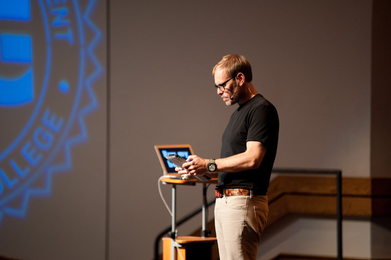 Alton Brown presenting at Rockwell.