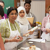 Students working in Dietetics and Nutrition lab kitchen.