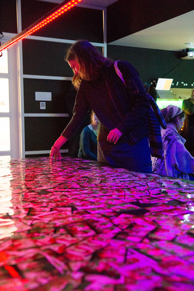 Artist Shasti O'Leary Soudant's Art Meets Technology: Let There Be Light exhibit and discussion during An Evening for Educators at the Burchfield-Penney Art Center.