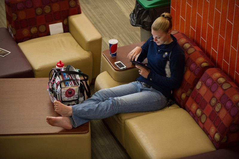Student in newly renovated Campbell Student Union.