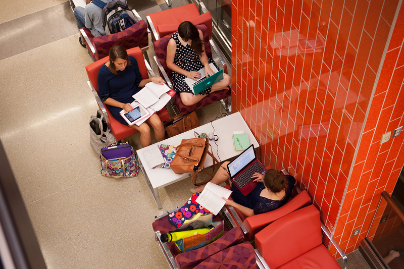 Students studying in Campbell Student Union at SUNY Buffalo State.