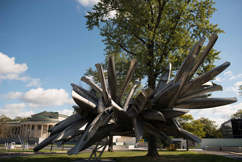 Canoe sculpture in front of Albright-Knox Art Gallery.
