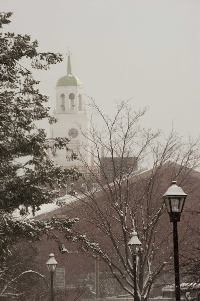 Winter campus scenes at Buffalo State.