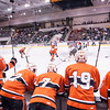 student attending a free trip to Oswego to cheer on Men's Hockey team in semi finals