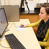 Students working in Dr. Stephani Foraker's Psychology Department lab at Buffalo State .