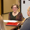 Dr. Jill Norvilitis meeting with Buffalo State Psychology students doing internships.