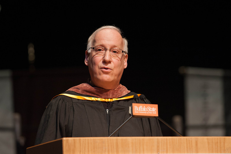 Design Professor Stephen Saracino giving address at the Honors Convocation at Buffalo State.