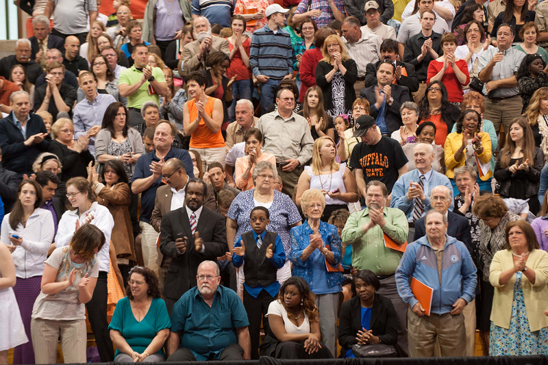 Standing ovation for Social activist Carl Wilkens after speaking at the 10am Undergraduate Commencement at Buffalo State.
