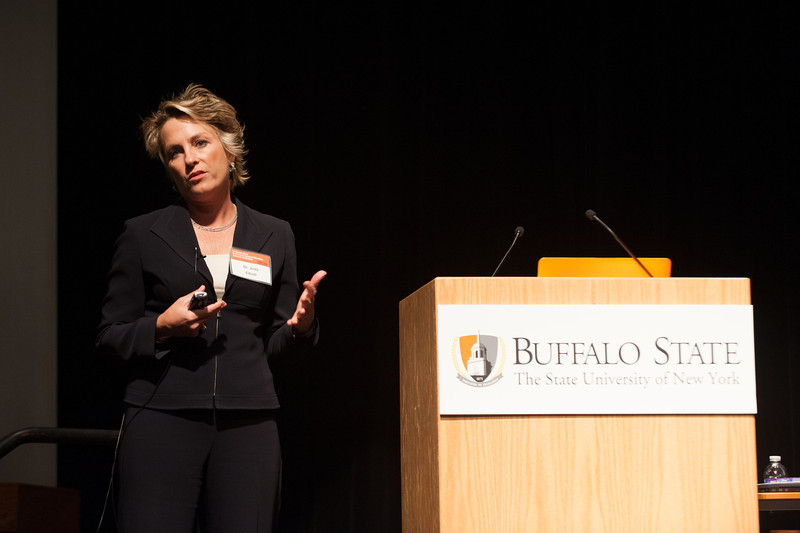 Education expert and Buffalo State alumna, Dr. Judy Elliott speaking at the Dr. Horace Mann Graduate Research Symposium.