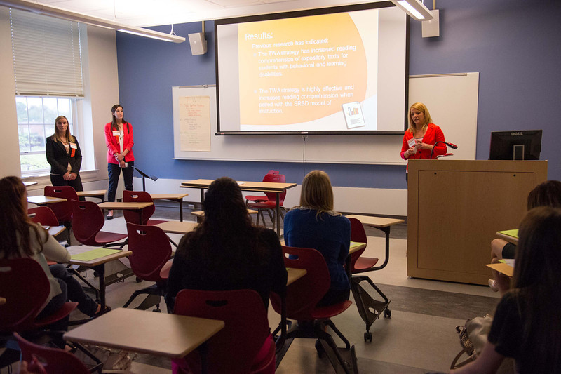 Exceptional Education graduate students presenting their research during the Dr. Horace Mann Graduate Research Symposium.