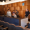 Audio engineers working with performers in Ciminelli Recital Hall at Buffalo State.