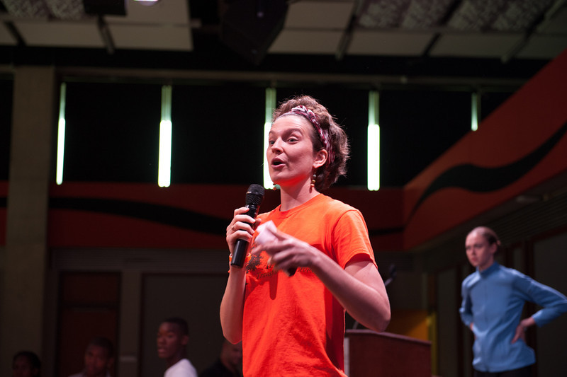 Eve Everettte talking to highschool students during the Anne Frank Project Youth Conference at Buffalo State.