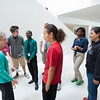 Highschool students preparing to visit the Anne Frank exhibit at the Burchfield-Penney Art Center at Buffalo State.