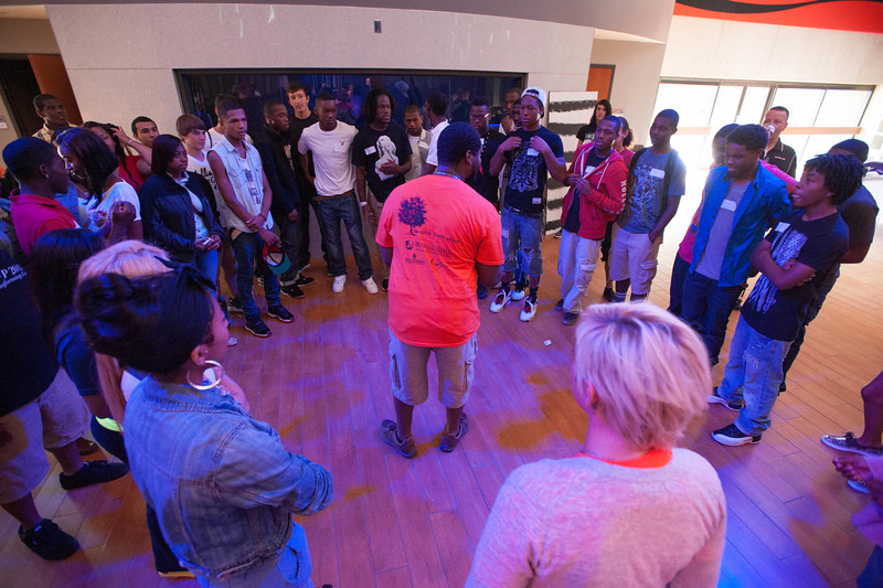 Rebecca Davis workshop with highschool students during the Anne Frank Project Youth Conference at Buffalo State.