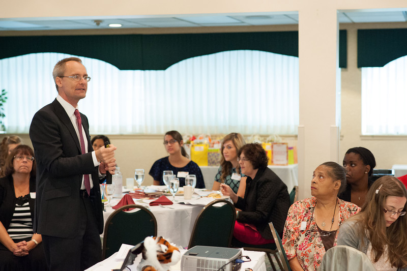 New York State Teacher of the Year, Gregory Ahlquist speaking at the Professional Development Schools Consortium (PDS) Fall Retreat.
