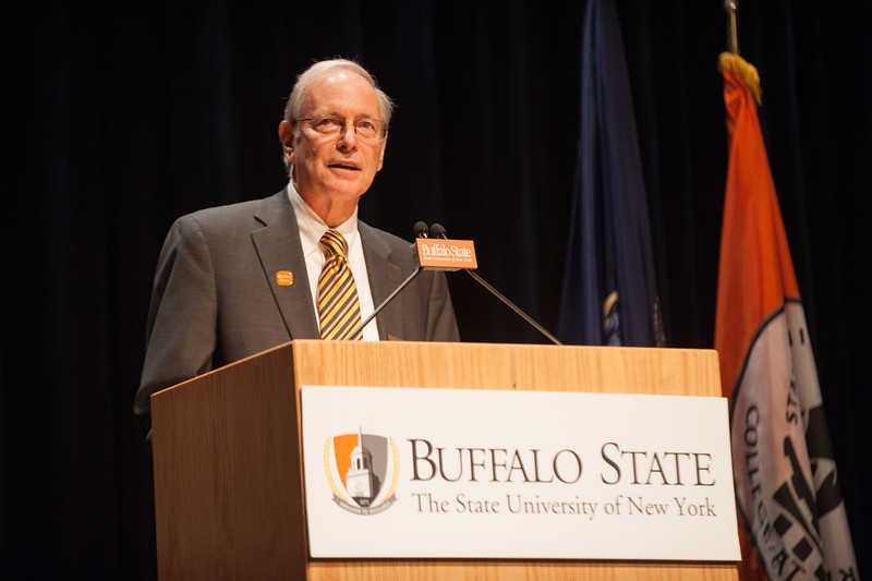 Interim President Howard Cohen addressing Buffalo State community in Rockwell Hall.