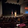 Interim President Howard Cohen addressing Buffalo State community in Rockwell Hall.