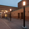 Lighted entrance to Houston Gym at SUNY Buffalo State.
