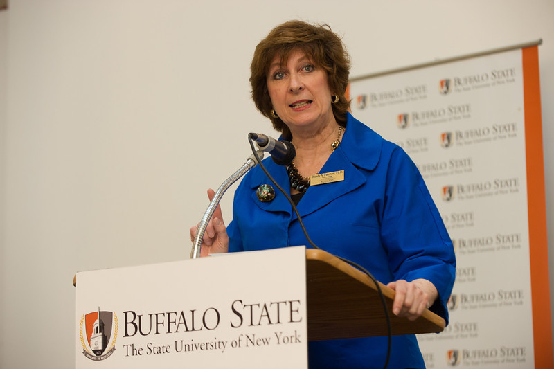Dean Wendy Paterson speaking at Master Teacher Program reception at SUNY Buffalo State.