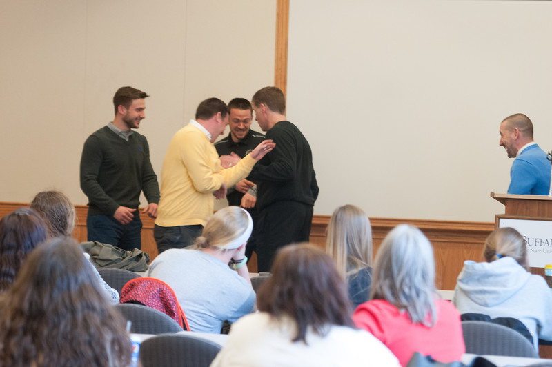 """Motivational speaker Kevin Cunningham presenting<br /> """"Mindfulness While You Work"""" during Mental Health Awareness Week at SUNY Buffalo State."""
