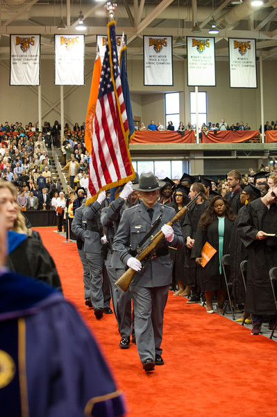 SUNY Buffalo State police honor guard at commencement.
