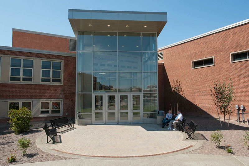 Main entrance of newly renovated Houston Gym at SUNY Buffalo State.