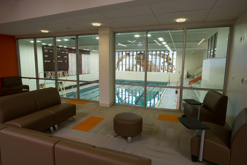 Lobby outside pool in newly renovated Houston Gym at SUNY Buffalo State.