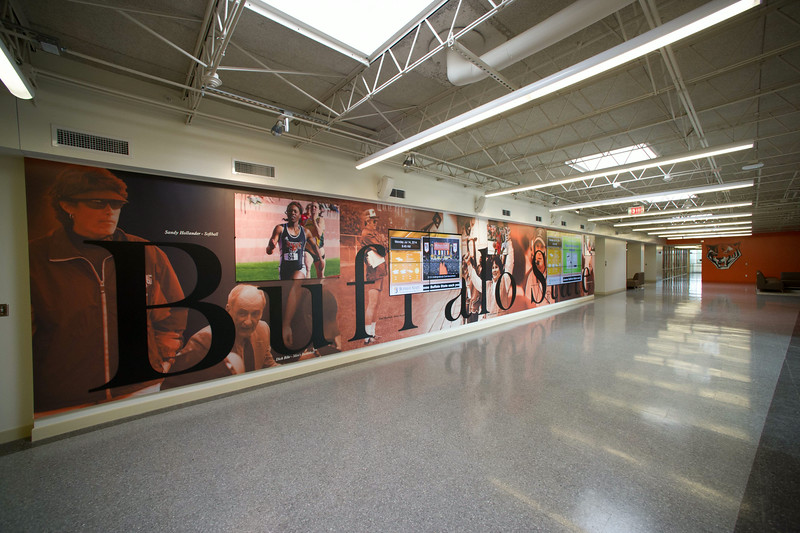 Main lobby in newly renovated Houston Gym at SUNY Buffalo State.