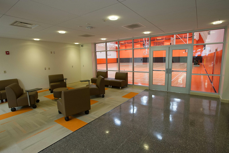 Lobby outside gymnasium in newly renovated Houston Gym at SUNY Buffalo State.