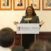 President Katherine Conway-Turner speaking at Achieving Success Through Leadership commencement ceremony at SUNY Buffalo State.