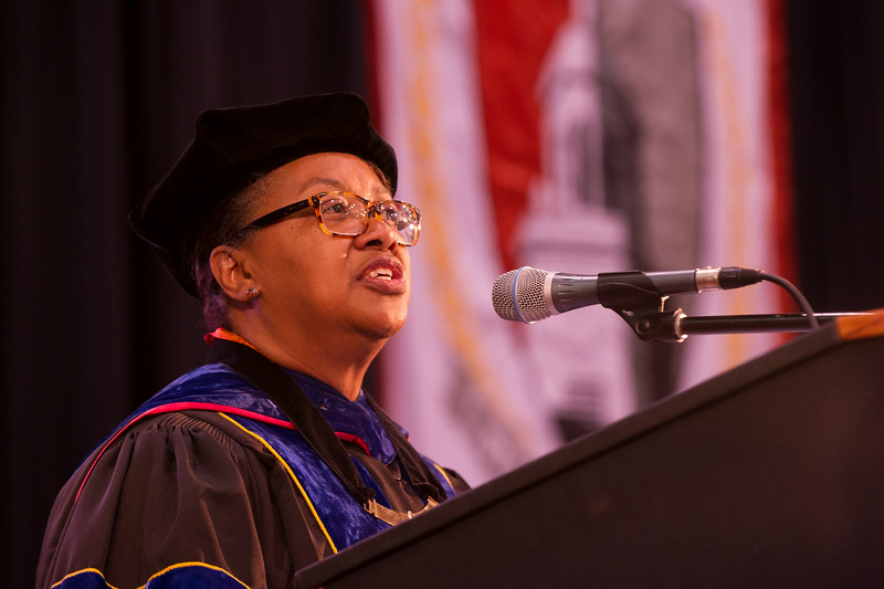 President Katherine Conway-Turner speaking at First-Year Convocation at SUNY Buffalo State.