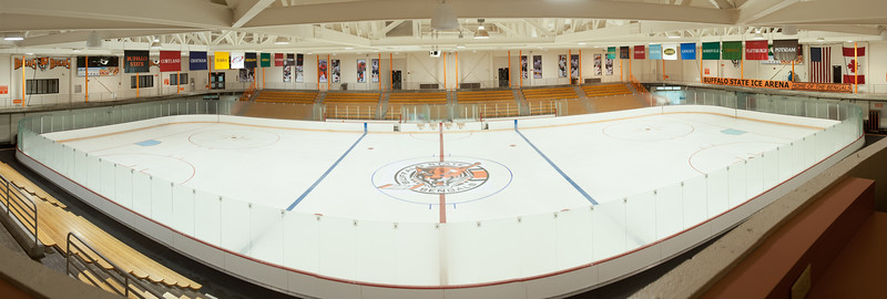Bengal logo at center ice in SUNY Buffalo State Ice Arena.
