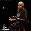 Storyteller Karima Amin speaking during day-one of the Anne Frank Project at SUNY Buffalo State.