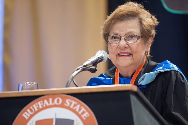 Distinguished Alumnus Award winner Jacqueline LoRusso at the 2pm Undergraduate Commencement at SUNY Buffalo State.