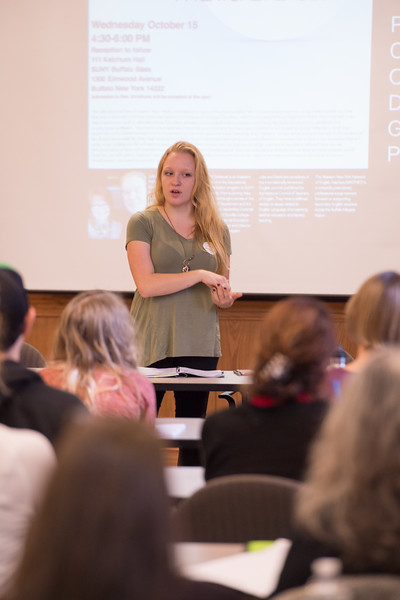 Trans scholar SJ Miller speaking to English students and local teachers at Buffalo State College.