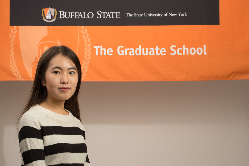 International students with Professor Deborah Silverman for Buffalo State College Graduate School website.