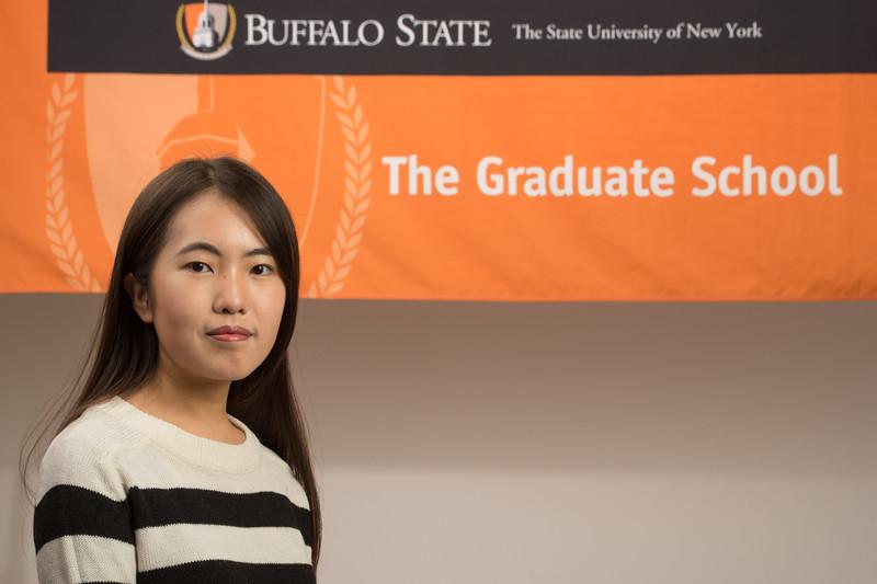 International students with Professor Deborah Silverman for Buffalo State College Graduate School website.