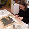 Students working in Art Conservation painting lab at Buffalo State College.