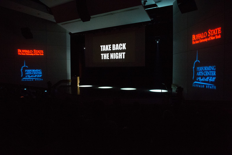 """Take Back the Night"" program at Buffalo State College."