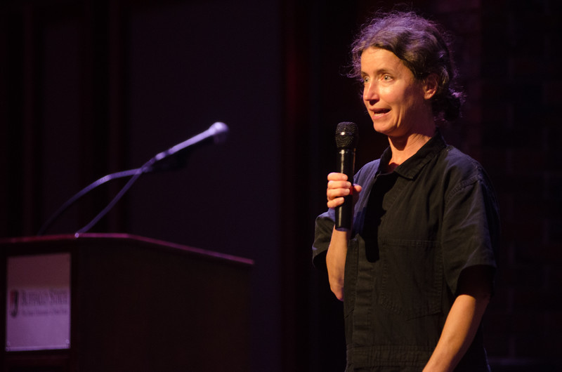 """Performance of Michele Costa's """"Speak"""" during the Anne Frank Project Social Justice Festival (AFP) at Buffalo State College."""