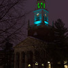 Rockwell Hall bell tower with new LED lighting at Buffalo State College.