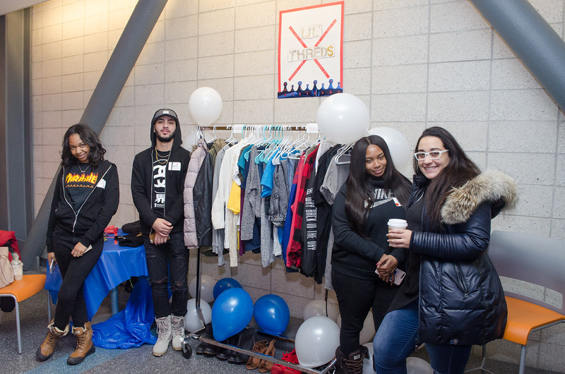 Fashion Department's 9th annual clothing giveaway, were fashion students set up makeshift shops for local refugee kids are free to pick out what they want.
