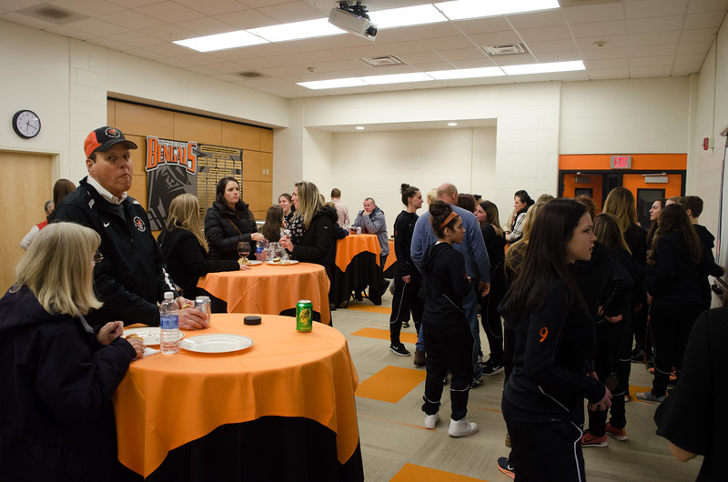 Reception and banner drop for Buffalo State's Women's Soccer Championship.