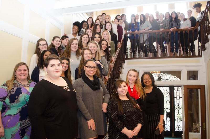 Buffalo State hosting the 2017 Pan Hellenic Tea held at the Presdents house.