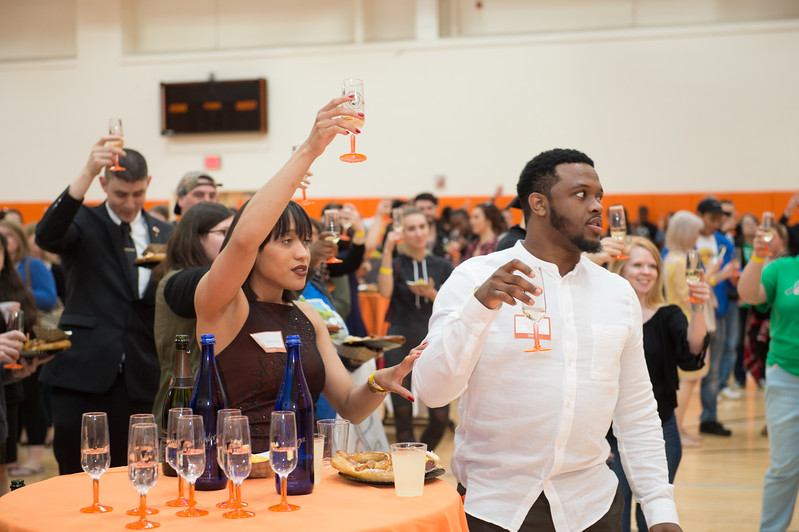 Pre-commencement rehearsal and toast to graduating seniors at Buffalo State College.