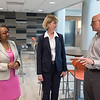 SUNY Chancellor-elect Kristina Johnson touring  Buffalo State College with President Katherine Conway-Turner.