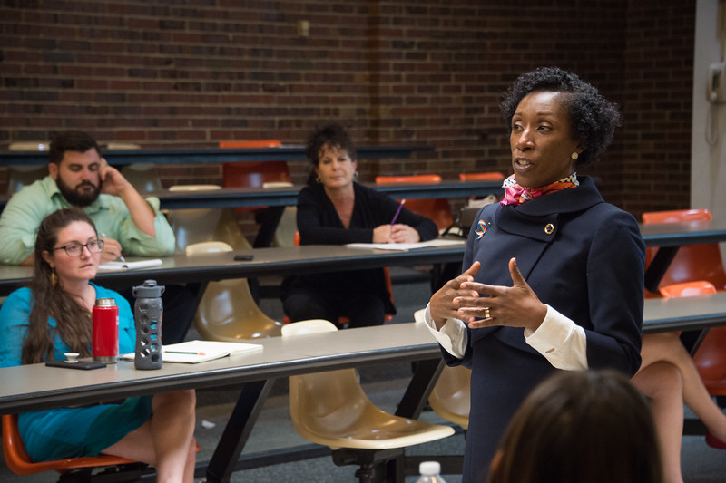 """Dr. Caryl Loney-McFarlane's """"Inclusivity/Exclusivity: Diversity in Higher Education"""" presentation at Buffalo State College."""