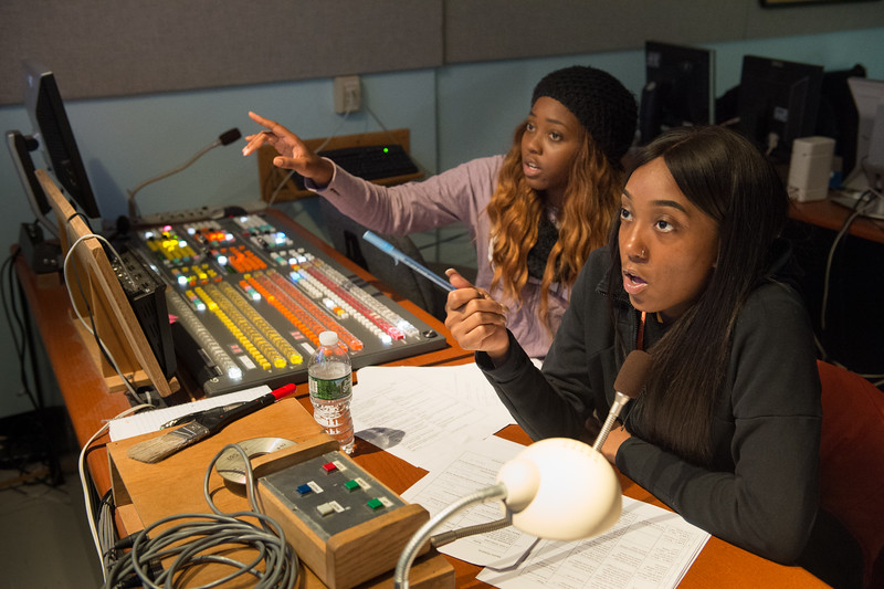 Students working in the Communication Department television production studio at Buffalo State College.